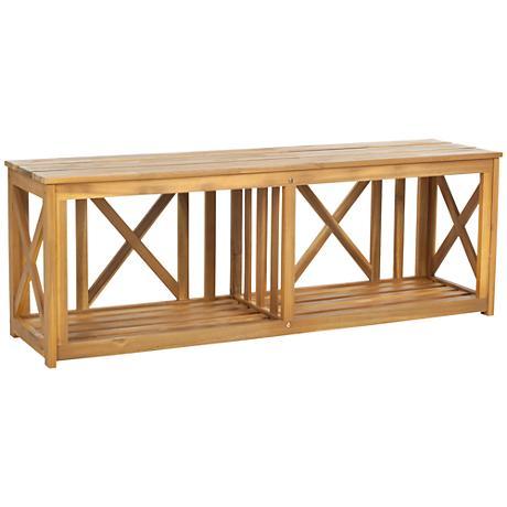 Delmond Teak Brown Wood Outdoor Bench