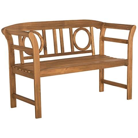 Franz Brown Wood 2-Seat Outdoor Bench