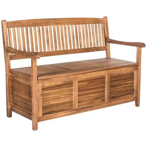 Westmore Teak Brown Wood Outdoor Storage Bench 1t832 Lamps Plus