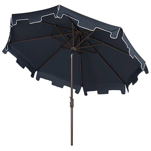 Zimmerman Navy 9' Aluminum Market Umbrella with Flap