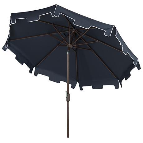 Zimmerman Navy 9' Aluminum Market Umbrella with Flap
