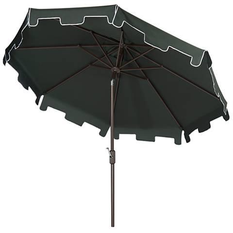Zimmerman Dark Green 9' Aluminum Market Umbrella with Flap