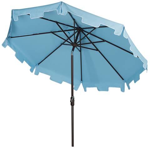 Zimmerman Blue 9' Aluminum Market Umbrella with Flap
