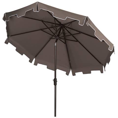 Zimmerman Gray 9' Aluminum Market Umbrella with Flap