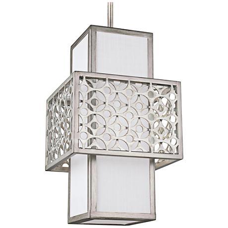 """Feiss Kenney 8"""" Wide Sunrise Silver Mini Pendant Light"""