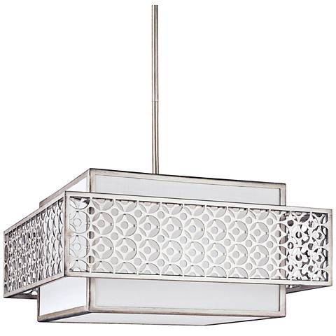 "Feiss Kenney 19 3/4""W Sunrise Silver Square Pendant Light"