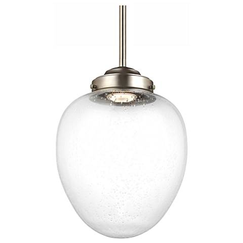 """Feiss Alcott 9"""" Wide Satin Nickel LED Mini Pendant"""