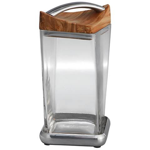 Nambe Twist Large Metal Glass and Wood Canister