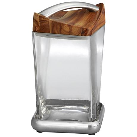 Nambe Twist Medium Metal Glass and Wood Canister