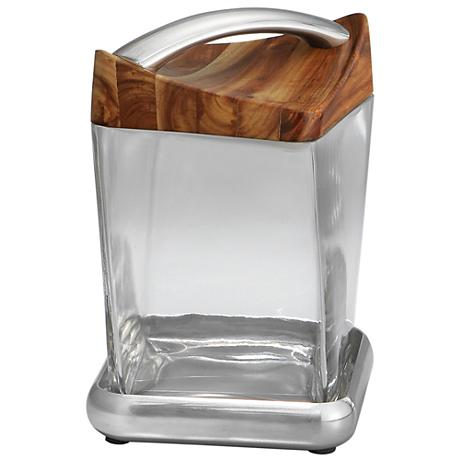 Nambe Twist Small Metal Glass and Wood Canister