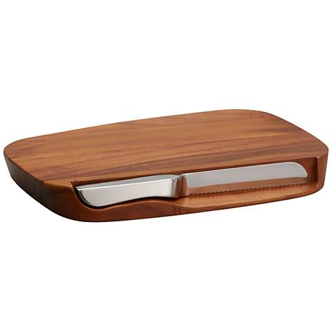 Nambe Blend 2-Piece Bread Board with Knife Set