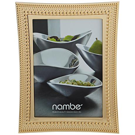 Nambe Beaded 5x7 Gold Picture Frame