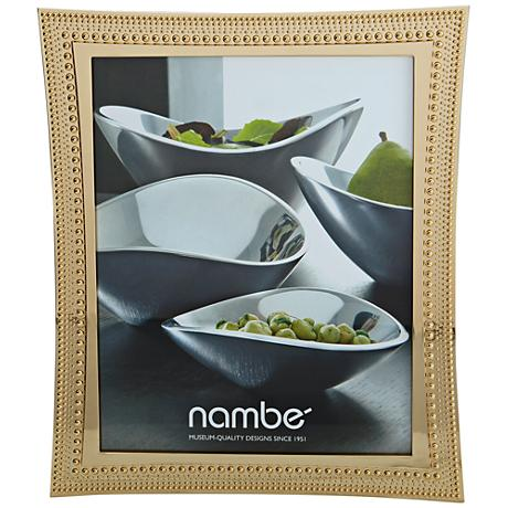 Nambe Beaded 8x10 Gold Picture Frame