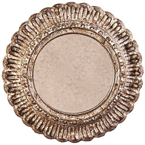 "Howard Elliott Yirell Champagne 20 1/2"" Round Wall Mirror"