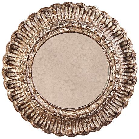 "Howard Elliott Yirell Champagne 20 1/2"" Round Wall Mirror"