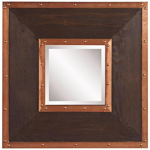 "Howard Elliott Zane Copper Studded 20"" Square Wall Mirror"