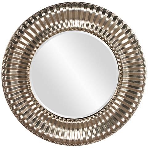 """Howard Elliott Sao Paulo Silver Rib 31"""" Round Wall Mirror"""