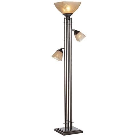 City Lines Bronze 3 Light Torchiere Floor Lamp 1t914