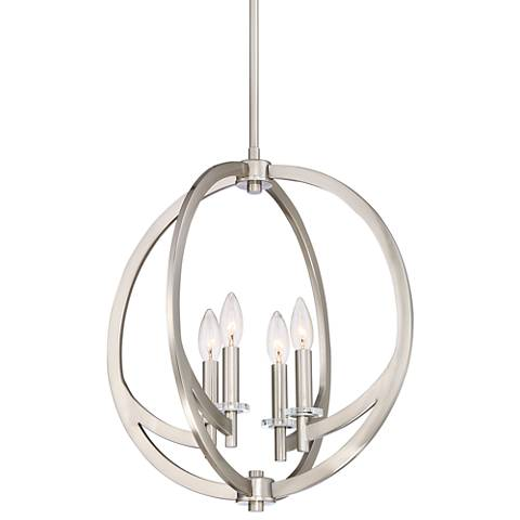 "Quoizel Orion 18""W Brushed Nickel 4-Light Steel Pendant"
