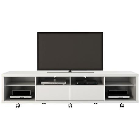 Cabrini 2.2 White Gloss Wood 2-Drawer TV Stand