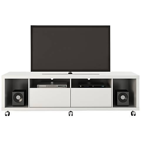 Cabrini 1.8 White Gloss Wood 2-Drawer TV Stand