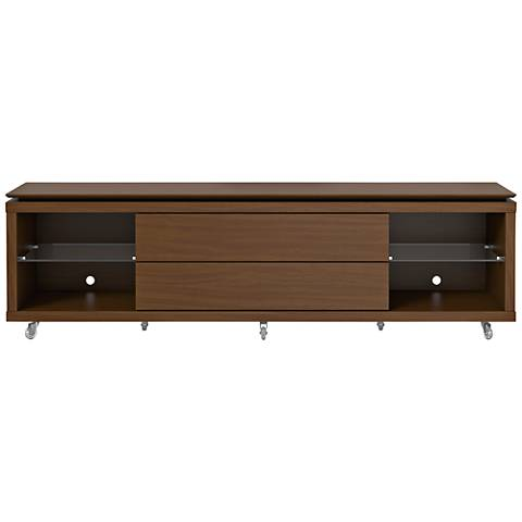 Lincoln 1.9 Nut Brown 2-Drawer TV Stand with Silicon Casters