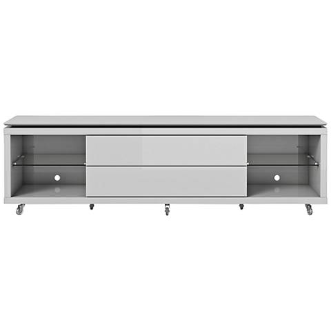 Lincoln 1.9 White 2-Drawer TV Stand with Silicon Casters
