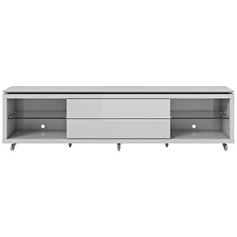 Lincoln 2.2 White 2-Drawer TV Stand with Silicon Casters