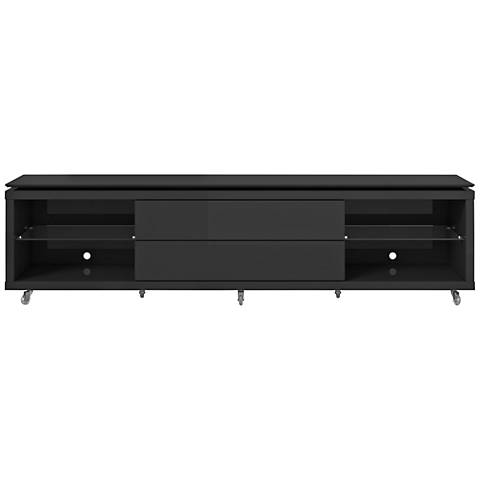 Lincoln 2.2 Black 2-Drawer TV Stand with Silicon Casters