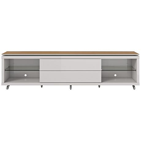 Lincoln 2.2 Off-White 2-Drawer TV Stand with Silicon Casters