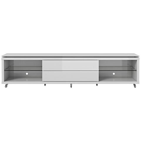Lincoln 2.4 White 2-Drawer TV Stand with Silicon Casters