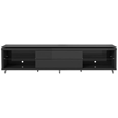 Lincoln 2.4 Black 2-Drawer TV Stand with Silicon Casters