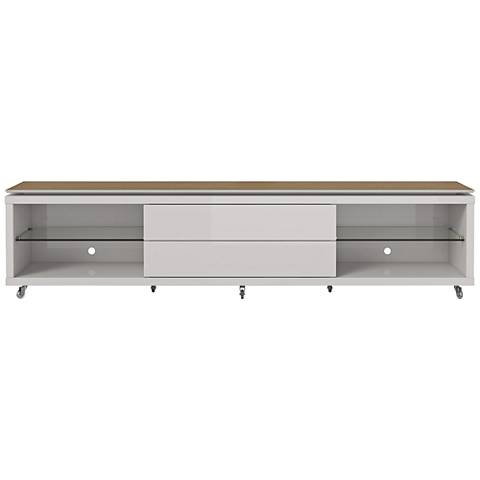 Lincoln 2.4 Off-White 2-Drawer TV Stand with Silicon Casters