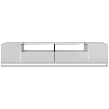 Vanderbilt White Gloss Wood 2-Door TV Stand with LED Lights