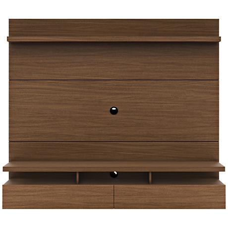 City 1.8 Nut Brown Wood Floating Wall Entertainment Center