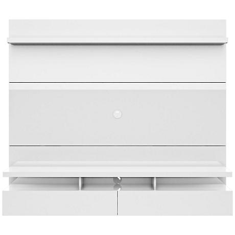 City 1.8 White Gloss Wood Floating Wall Entertainment Center