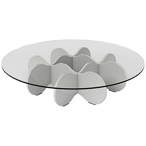 Waverly Glass Top White Gloss Round Accent End Coffee Table