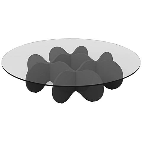 Waverly Glass Top Black Gloss Round Accent End Coffee Table