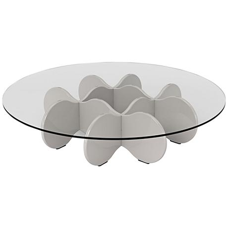 Waverly glass top off white round accent end coffee table for Off white round table