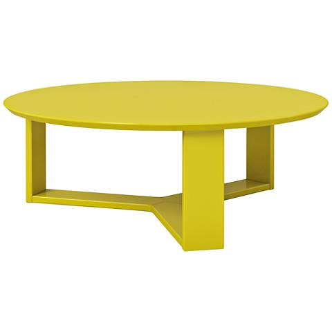 Madison 1.0 Lime Gloss Wood Round Accent Coffee Table