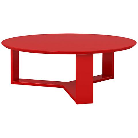 Madison 1.0 Red Gloss Wood Round Accent Coffee Table