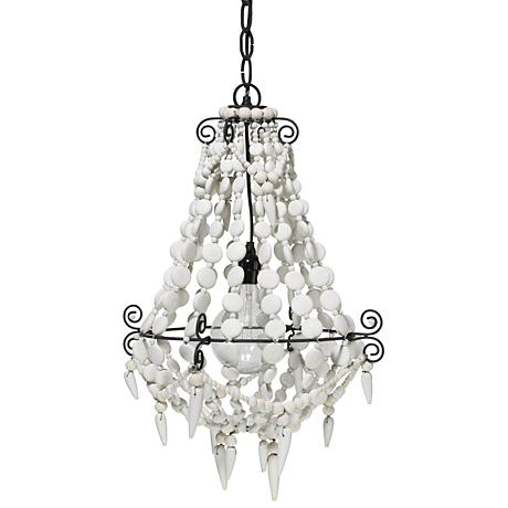 "Jamie Young Akumal 18"" Wide White Beads Chandelier"