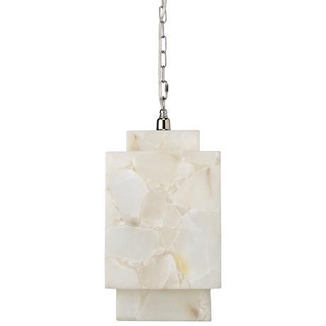 "Jamie Young Borealis 9"" Wide Alabaster Cube Mini Pendant"