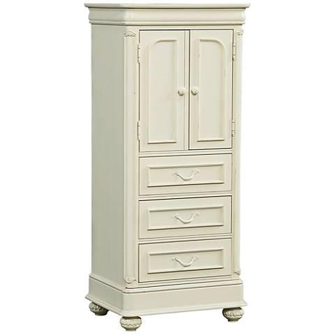 Charlotte Antique White Wood 4-Drawer Wardrobe with Storage