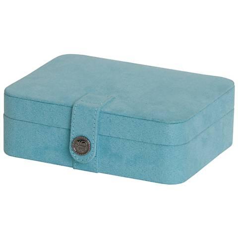 Mele & Co. Giana Plush Aqua Fabric Jewelry Box
