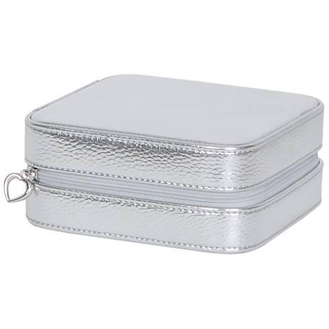 Mele & Co. Luna Silver Metallic Faux Leather Jewelry Case