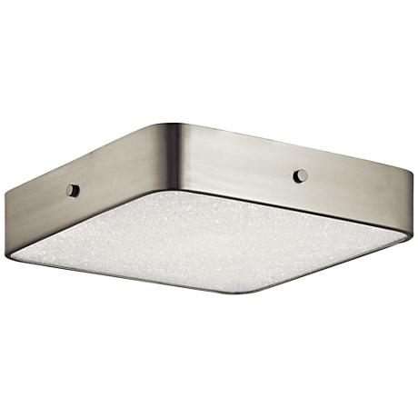 """Crystal Moon Nickel 15 3/4"""" Wide LED Square Ceiling Light"""