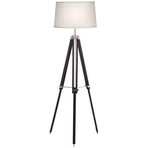 Tripod Espresso Wood Adjustable Floor Lamp