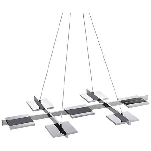"Sonneman Panels 39"" Wide Polished Chrome LED Island Pendant"