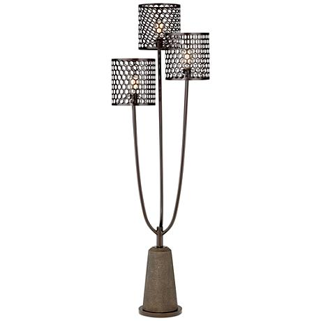 Pegasus Black Mesh 3-Light Faux Stone Floor Lamp